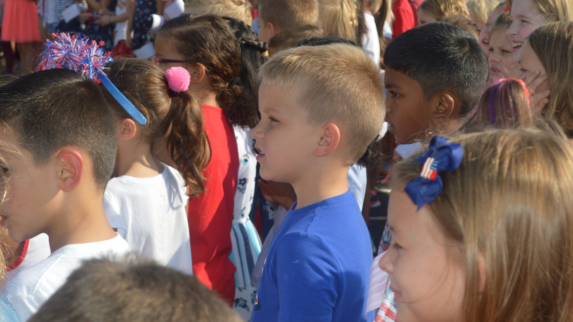 Singing the Star Spangled Banner for Patriot's Day